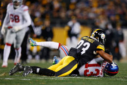 PITTSBURGH, PA - DECEMBER 04:  Odell Beckham #13 of the New York Giants is hit by Mike Mitchell #23 of the Pittsburgh Steelers after a catch in the first half during the game at Heinz Field on December 4, 2016 in Pittsburgh, Pennsylvania. (Photo by Justin K. Aller/Getty Images)