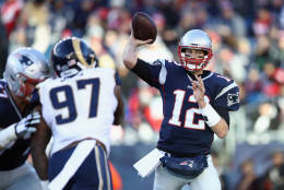 FOXBORO, MA - DECEMBER 04:  Tom Brady #12 of the New England Patriots throws a pass during the second half against the Los Angeles Rams at Gillette Stadium on December 4, 2016 in Foxboro, Massachusetts.  (Photo by Maddie Meyer/Getty Images)