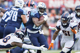 NASHVILLE, TN - DECEMBER 11:  DeMarco Murray #29 of the Tennessee Titans is tackled by Shaquil Barrett #48 of the Denver Broncos at Nissan Stadium on December 11, 2016 in Nashville, Tennessee.  (Photo by Wesley Hitt/Getty Images)