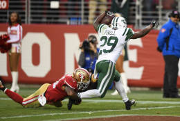 SANTA CLARA, CA - DECEMBER 11:  Bilal Powell #29 of the New York Jets rushes for a 19-yard touchdown to beat the San Francisco 49ers in overtime in their NFL game at Levi's Stadium on December 11, 2016 in Santa Clara, California.  (Photo by Thearon W. Henderson/Getty Images)