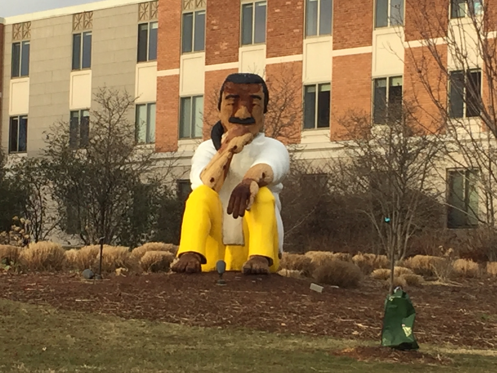 This wooden statue of Leonard Peltier at American University has roiled some members of the law enforcement community.  Peltier was convicted of killing two FBI agents but there's been a push to advocate for his clemency. (WTOP/John Domen)