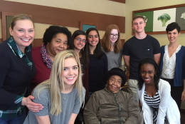 The students had a chance to meet and interview two former ACS students. This picture was taken after their lunch with one of the past students, Ms. Yvonne Neal. This is just one of the many amazing opportunities that the students have had as part of this project. (Courtesy Shannon Knipmeyer)