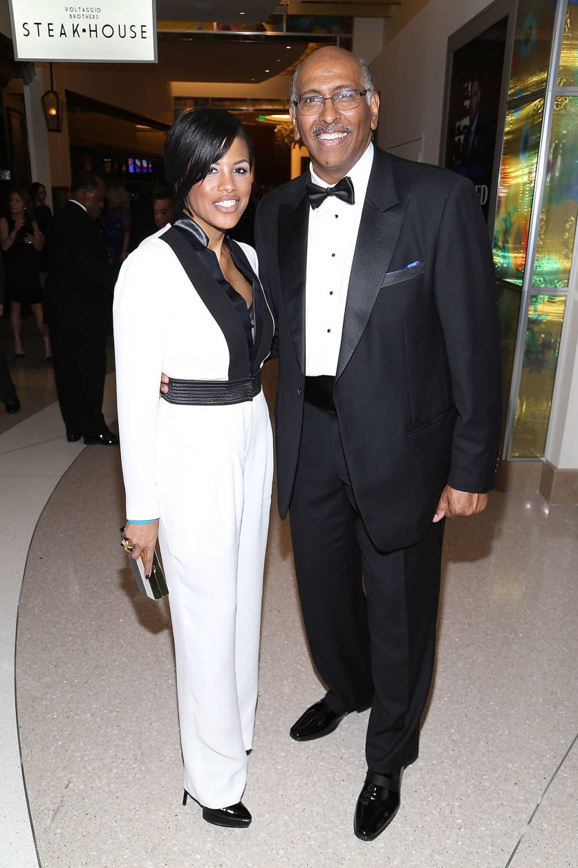 NATIONAL HARBOR, MD - DECEMBER 08:  Baltimore Mayor Stephanie Rawlings-Blake (L) and Michael Steele attend the MGM National Harbor Grand Opening Gala on December 8, 2016 in National Harbor, Maryland.  (Photo by Paul Morigi/Getty Images for MGM National Harbor)