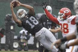 Oakland Raiders wide receiver Andre Holmes (18) catches a touchdown pass next to Kansas City Chiefs defensive back Ron Parker (38) during the first half of an NFL football game in Oakland, Calif., Sunday, Oct. 16, 2016. (AP Photo/Ben Margot)