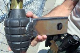 Hand grenade trailer hitch cover — San Luis Obispo County Regional Airport (SBP)