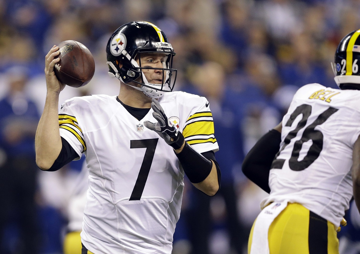 Pittsburgh Steelers quarterback Ben Roethlisberger drops back to pass during the first half an NFL football game against the Indianapolis Colts Thursday, Nov. 24, 2016, in Indianapolis. (AP Photo/Michael Conroy)