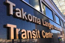 Starting Thursday, buses that serve riders whose destinations sprawl across Montgomery and Prince George's counties, will begin rolling into and out of the Takoma-Langley Crossroads Transit Center at the intersection of New Hampshire Avenue and University Boulevard. (WTOP/Kate Ryan)