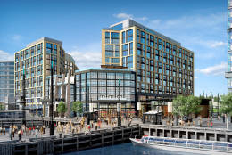 This artists rendering shows The Channel apartment structure, which will open in 2017 as part of The Wharf development in the Southwest Waterfront. The building will have 500 units making it among the largest apartment buildings in the District. (Courtesy  Hoffman-Madison Waterfront)