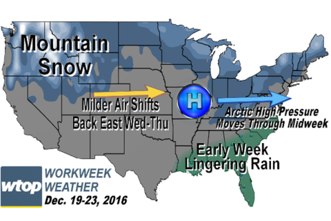 Workweek weather: Milder temps leading up to Christmas