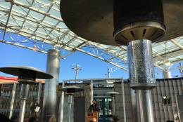 The view from under the canopy at the new Takoma-Langley Crossroads Transit Center. (WTOP/Kate Ryan)