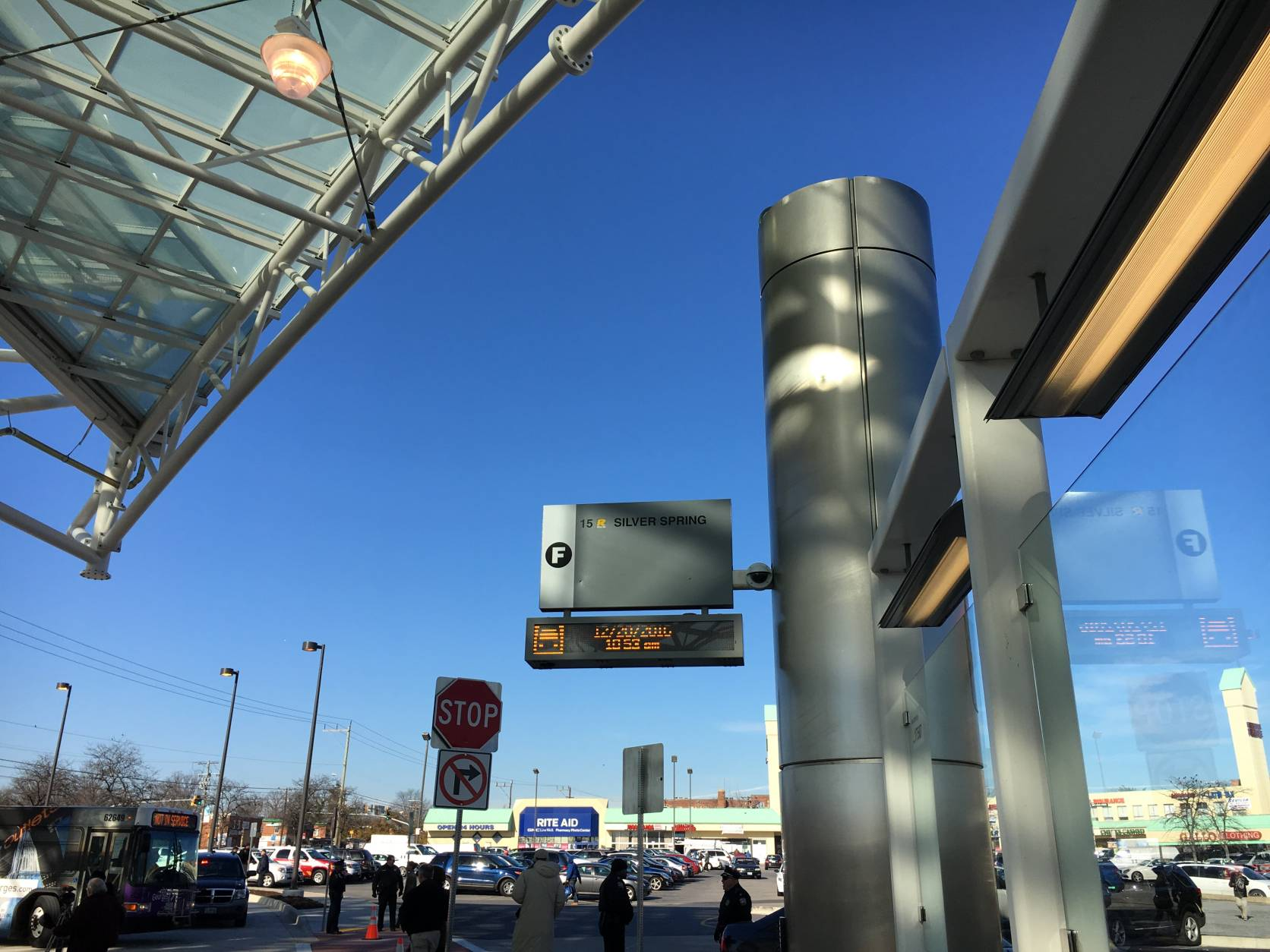 The $32 million transit center has rest rooms, an enclosed area, large area maps, overhead displays telling riders when their next bus will arrive and bike racks. (WTOP/Kate Ryan)