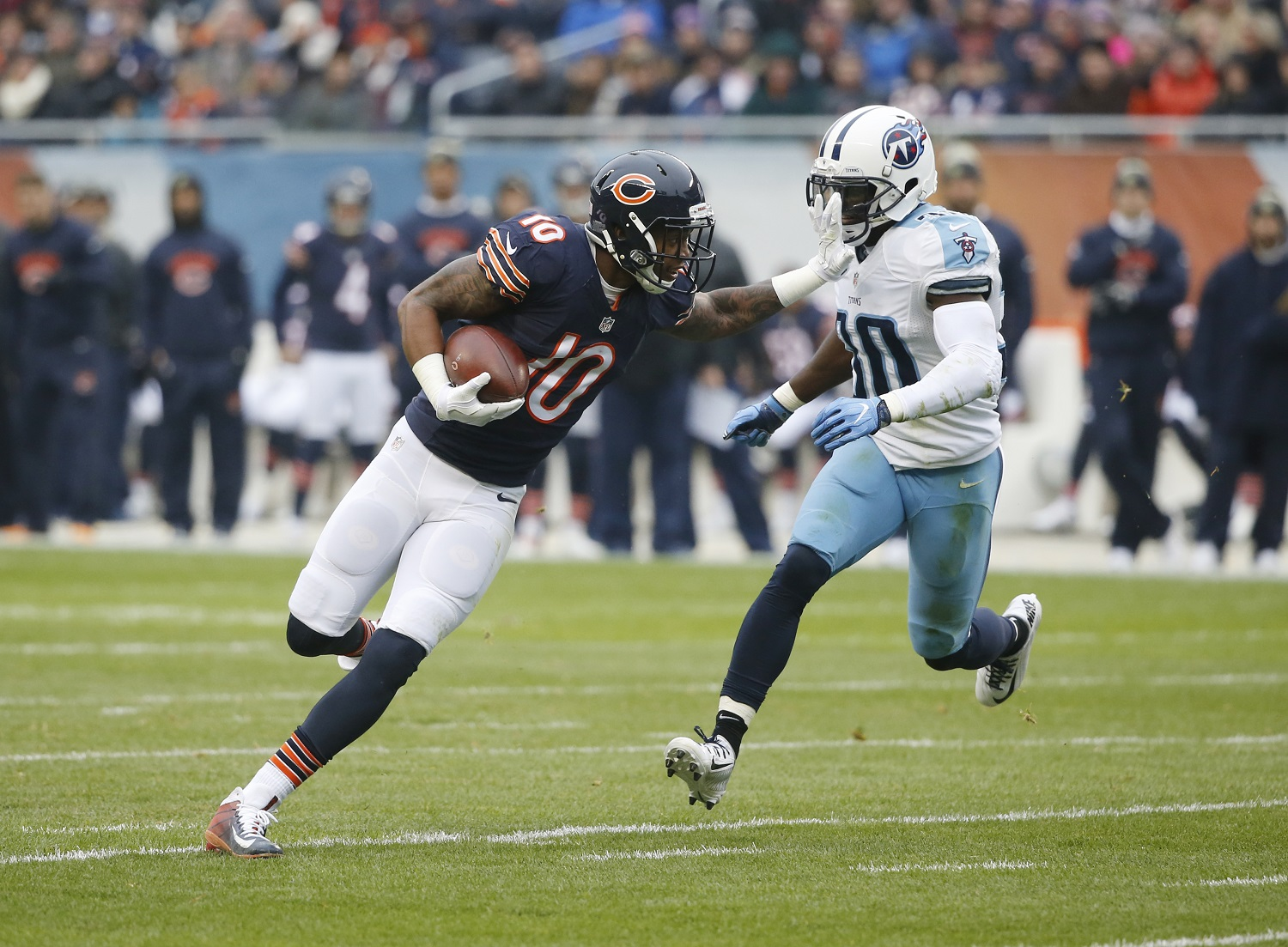 Chicago Bears wide receiver Marquess Wilson (10) runs against Tennessee Titans cornerback Jason McCourty (30) during the first half of an NFL football game, Sunday, Nov. 27, 2016, in Chicago. (AP Photo/Charles Rex Arbogast)