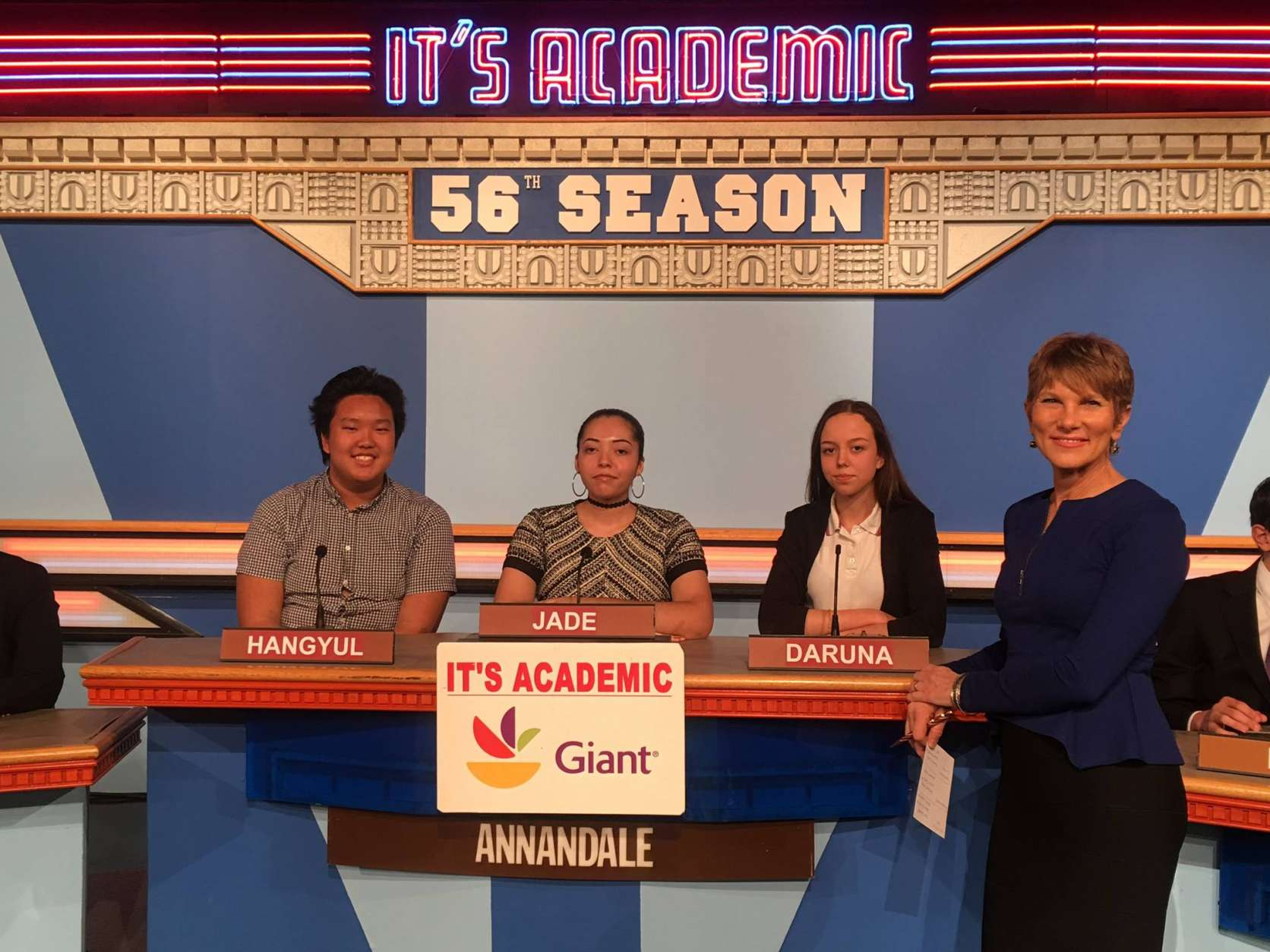 "On ""It's Academic,"" Annandale High School competes against Washington Latin Charter and Robinson Secondary School. The show airs Feb. 18, 2017. (Courtesy Facebook/It's Academic)"