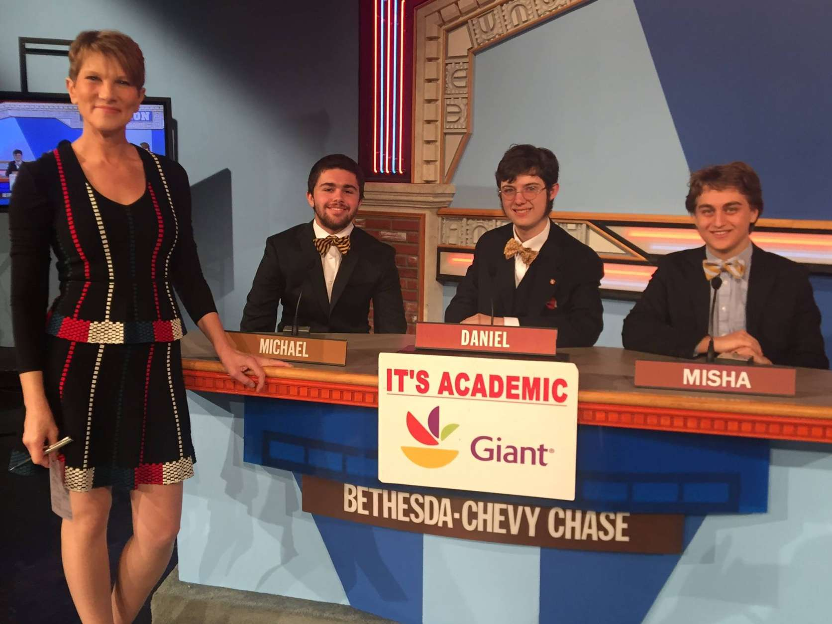 "On ""It's Academic,"" Bethesda-Chevy Chase, St. Anselm's and T.C. Williams compete. The show airs Jan. 14, 2017. (Courtesy Facebook/It's Academic)"