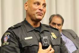 This photo shows Montgomery County police Lt. Chuck Carafano wearing a body camera. (WTOP/Kate Ryan)