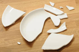 White plate lies broken on the floor.