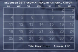 Only a trace of snow was observed during December 2011. The average temperature was well above average. (WTOP/Dave Dildine)