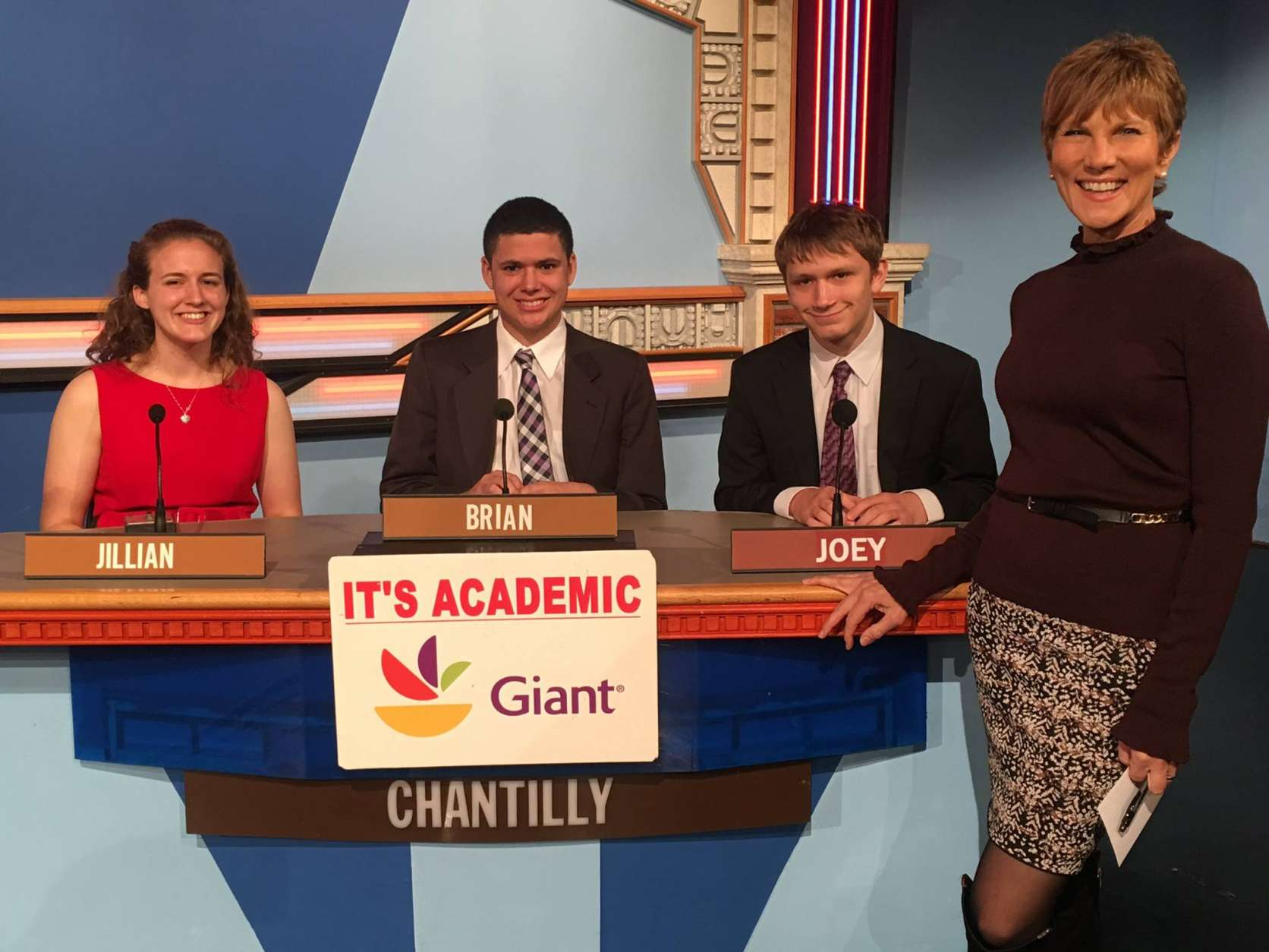 "On ""It's Academic,"" Chantilly High School won against Suitland and West Springfield high schools. The show aired Jan. 21, 2017. (Courtesy Facebook/It's Academic)"