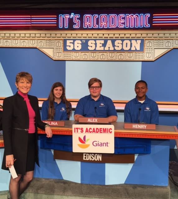 "On ""It's Academic,"" Edison High School competes against J.E.B. Stuart High School and Wootton High School. The show airs Feb. 4, 2017. (Courtesy Facebook/It's Academic)"