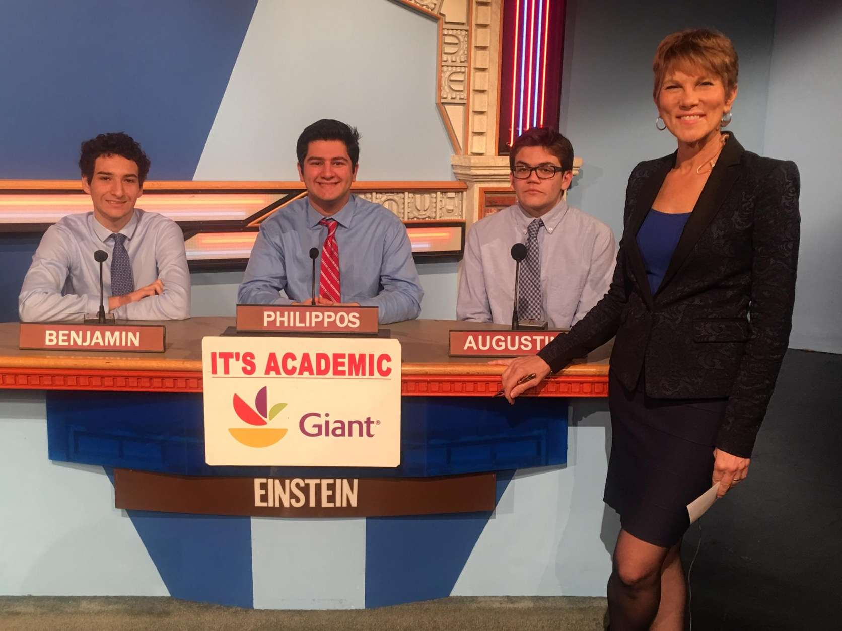 "On ""It's Academic,"" Albert Einstein High School won against Holton-Arms and Paul VI. The show aired Jan. 28, 2017. (Courtesy Facebook/It's Academic)"