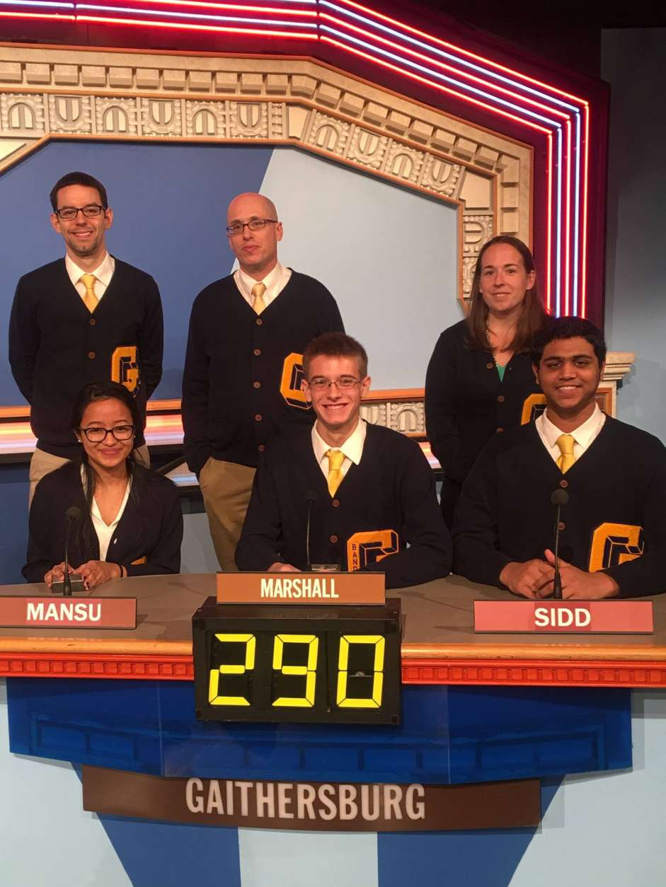 "On ""It's Academic,"" Gaithersburg High School competes against Stone Bridge and Wakefield high schools. The show airs Feb. 25, 2017. (Courtesy Facebook/It's Academic)"