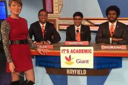 "On ""It's Academic,"" Hayfield High School competes against Gaithersburg High School and Georgetown Day on March 4, 2017. (Courtesy Facebook/It's Academic)"