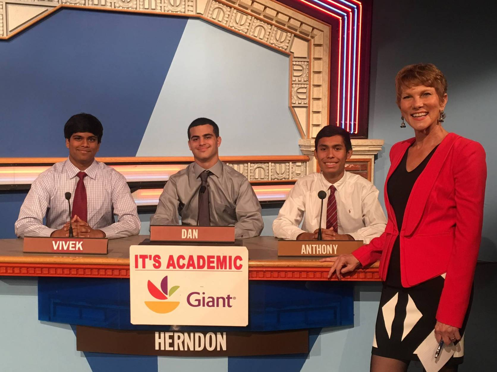 "On ""It's Academic,"" Herndon High School competed against Loudoun County High School and Landon School. Loudoun County High School  won. The show aired Dec. 24, 2016. (Courtesy Facebook/It's Academic)"