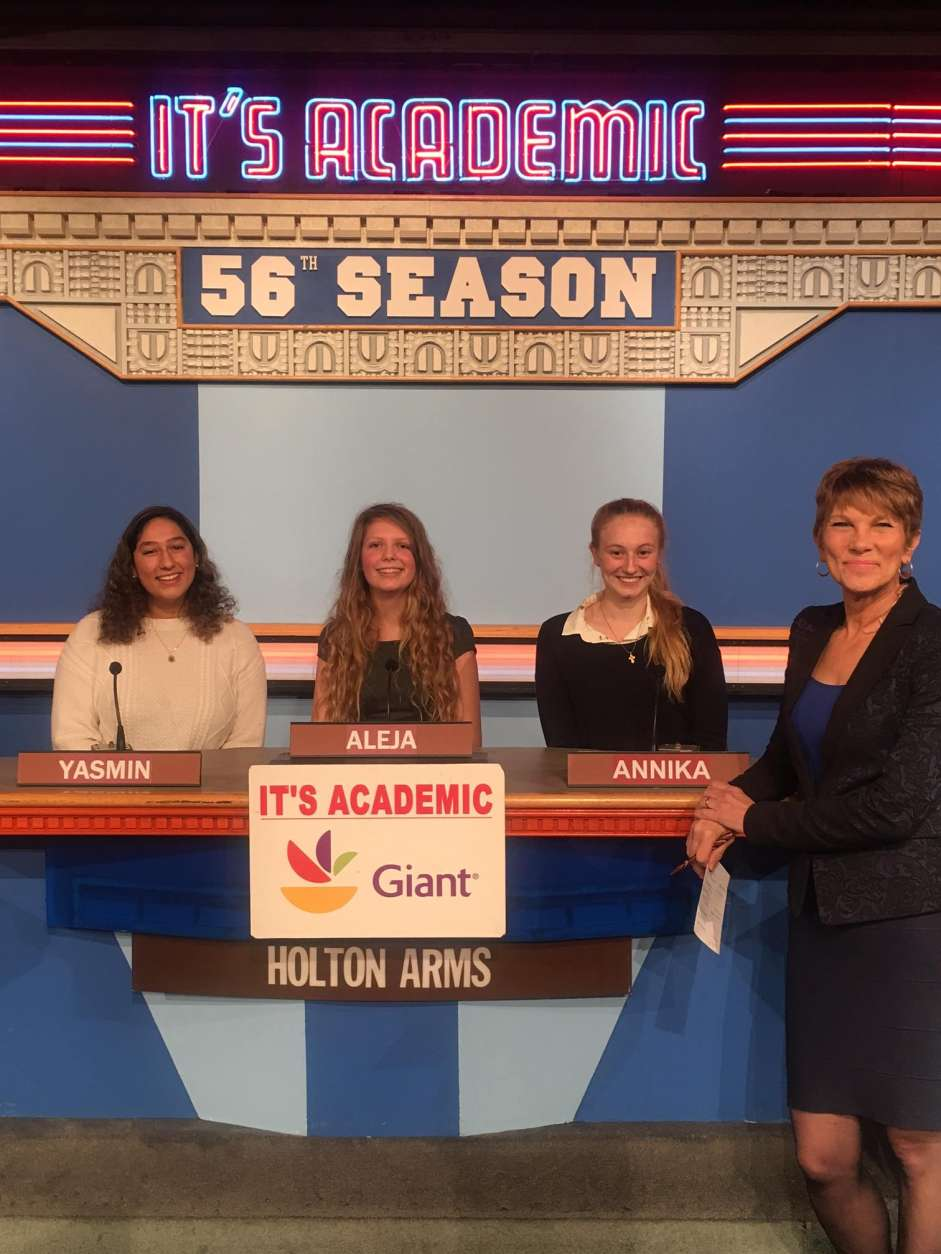 "On ""It's Academic,"" Holton-Arms competed against Albert Einstein High School and Paul VI. The show aired Jan. 28, 2017. (Courtesy Facebook/It's Academic)"