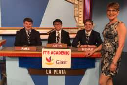 "On ""It's Academic,"" La Plata High School competes against George Mason and Benjamin Banneker Academic high schools. The show airs April 8, 2017. (Facebook/It's Academic)"