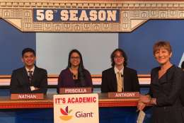 "On ""Its Academic,"" Lake Braddock Secondary School competes against Stonewall Jackson and Montgomery Blair high schools. The show airs Dec. 31, 2016. (Courtesy Facebook/It's Academic)"