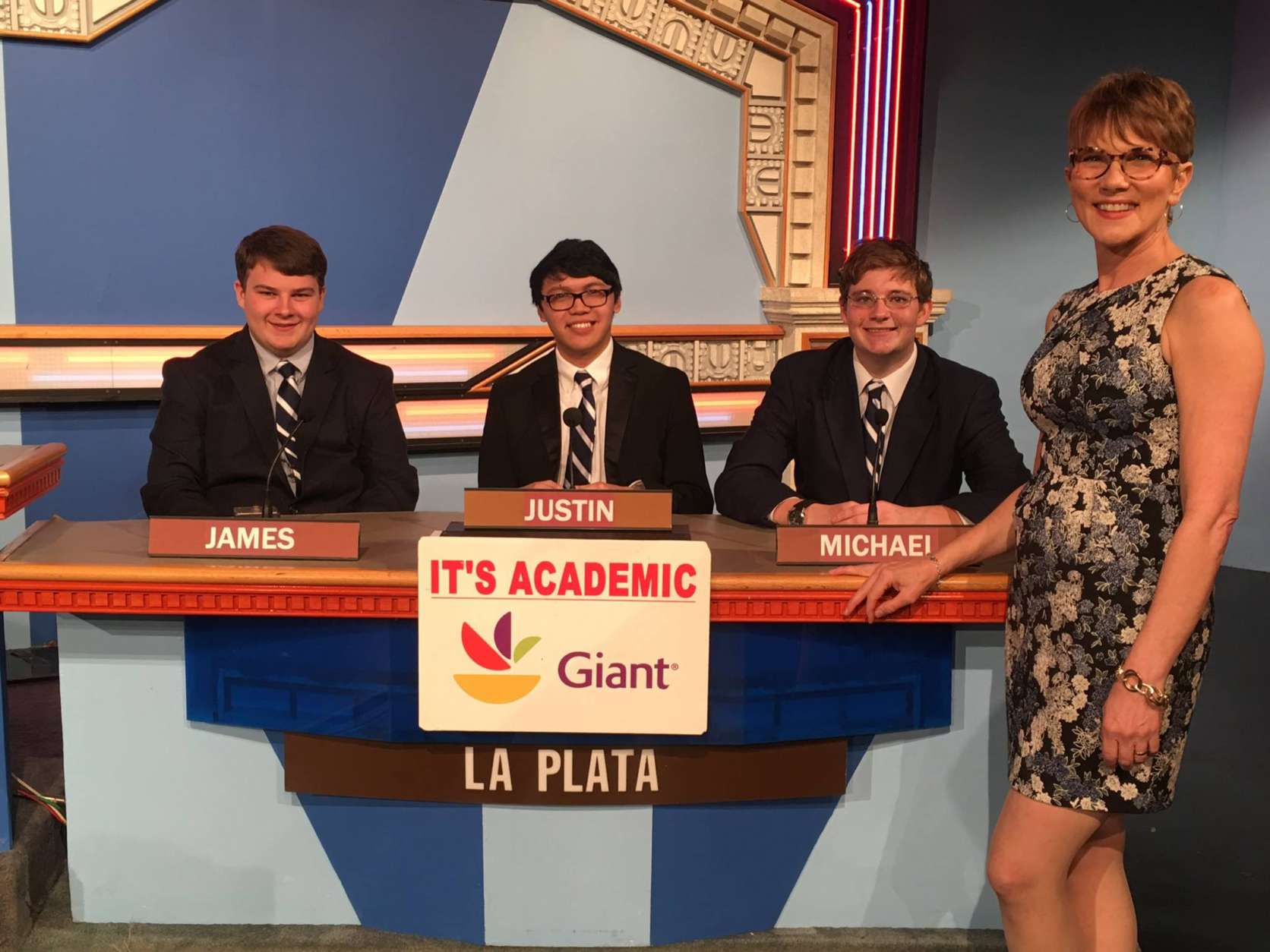 "On ""It's Academic,"" La Plata High School, competed against Rockville and Langley high schools. (Courtesy Facebook/It's Academic)"