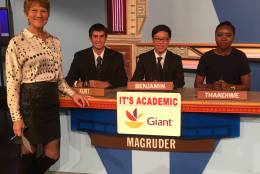 "On ""It's Academic,"" Macgruder High School competes against Whitman and Mount Vernon high schools. The show airs Dec. 17, 2016. (Courtesy Facebook/It's Academic)"