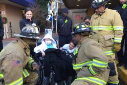 """""""Now I think I can be one,"""" Hunter Scarborough said of his dream to one day become a firefighter. (WTOP/Kristi King)"""