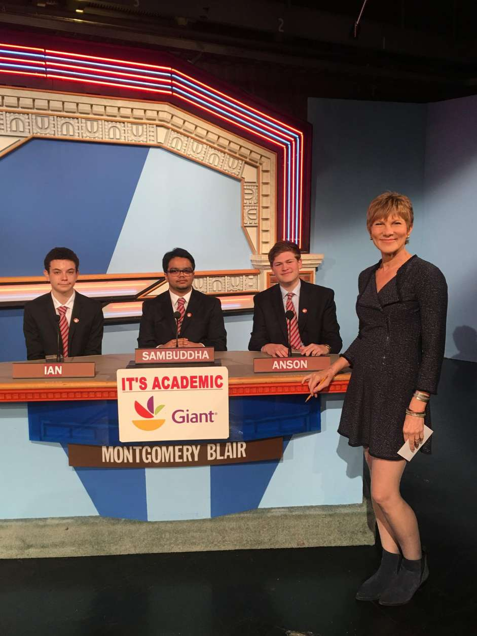 "On ""It's Academic,"" Montgomery Blair High School competes against Stonewall Jackson High School and Lake Braddock Secondary School. The show airs Dec. 31, 2016. (Courtesy Facebook/It's Academic)"