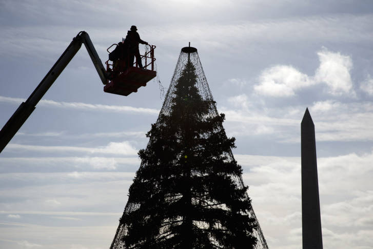 with the washington monument at right hargrove technicians install lights on the national christmas tree a large evergreen tree in the northeast quadrant