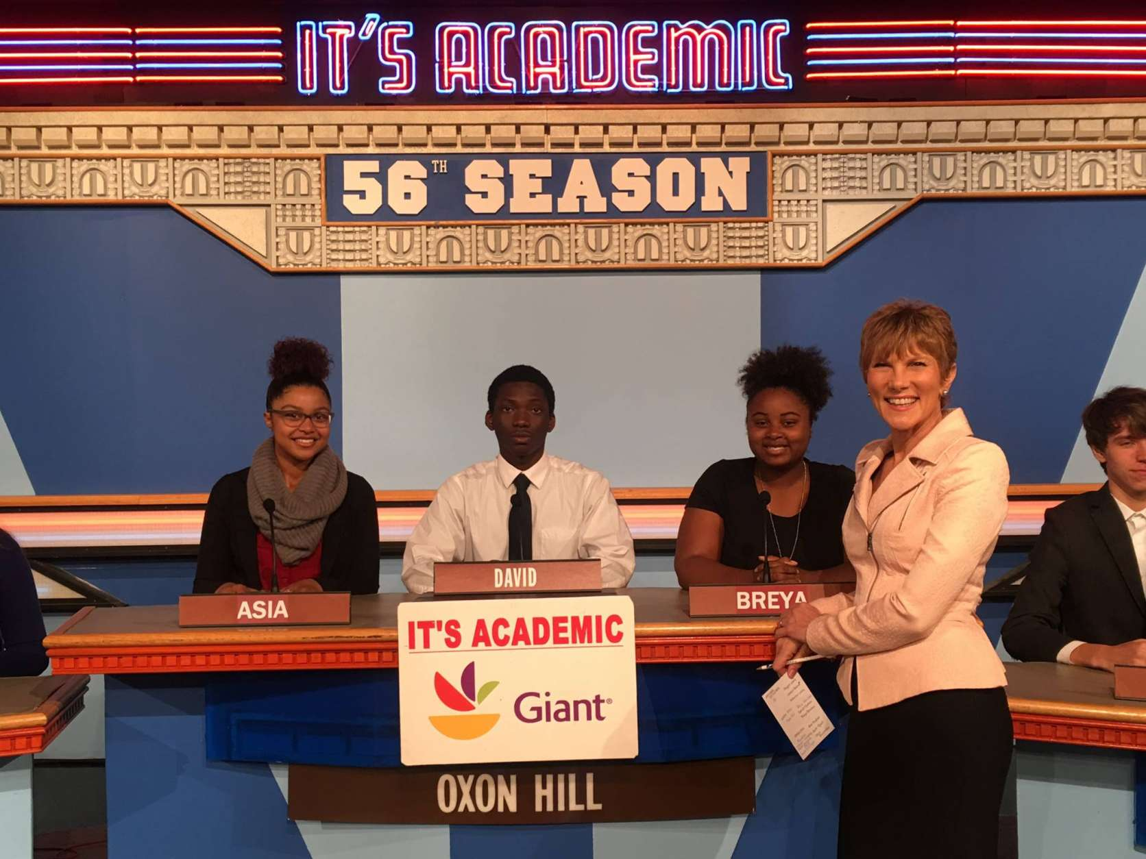 "On ""It's Academic,"" Oxon Hill High School competes against National Cathedral School and Osbourn High School. The show airs Jan. 7, 2017. (Courtesy/It's Academic)"