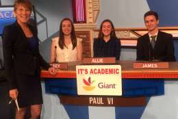 "On ""It's Academic,"" Paul VI competed against Albert Einstein High School and Holton-Arms. The show aired Jan. 28, 2017. (Courtesy Facebook/It's Academic)"