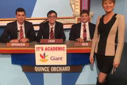 "On ""It's Academic,"" Quince Orchard competes against Sidwell Friends and Stone Ridge. The show airs Feb. 11, 2017. (Courtesy Facebook/It's Academic)"