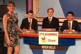 "On ""It's Academic,"" Rockville High School competes against Park view and South County high schools. The show airs March 25, 2017. (Courtesy Facebook/It's Academic)"