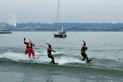 Santa Claus and friends waterski before their big night