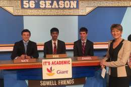 "On ""It's Academic,"" Sidwell Friends competes against Stone Ridge and Quince Orchard. The show airs Feb. 11, 2017. (Courtesy Facebook/It's Academic)"