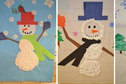 Students at Farmington Elementary School in Culpeper, Virginia decorated these snowmen for their classroom. (Courtesy Karen Dugger)