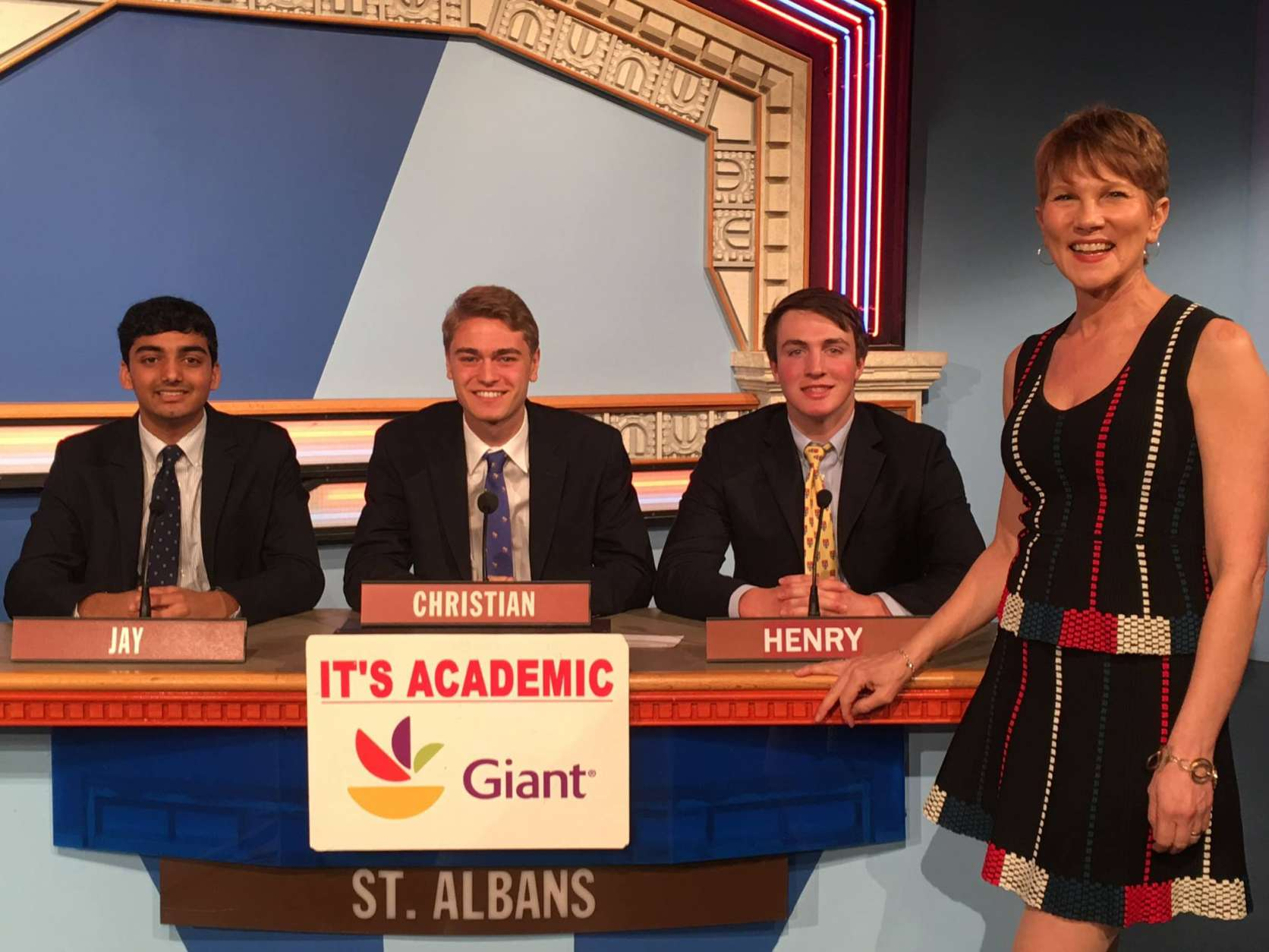 "On ""It's Academic,"" St. Albans School competes against Bowie and Wheaton high schools. The show airs March 11, 2017. (Courtesy Facebook/It's Academic)"