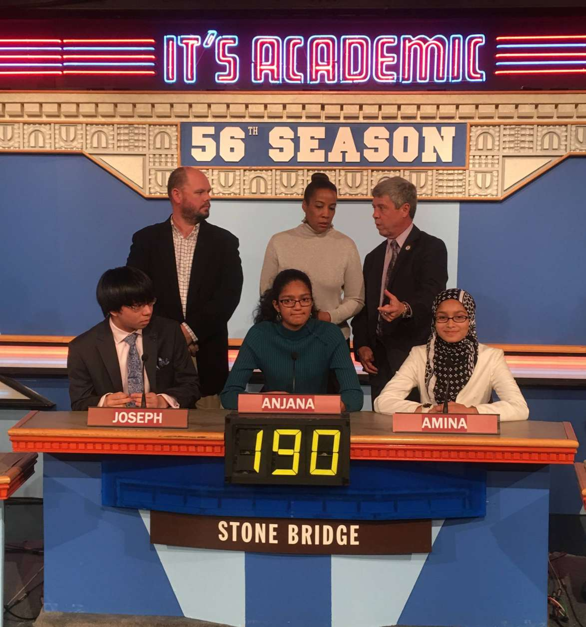 "On ""It's Academic,"" Stone Bridge High School competed against Gaithersburg and Wakefield high Schools. The show aired Feb. 25, 2017. (Courtesy Facebook/It's Academic)"