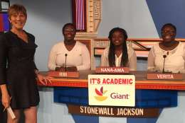"On ""It's Academic,"" Stonewall Jackson High School competes against Lake Braddock Secondary School and Montgomery Blair High School. The show airs Dec. 31, 2016. (Courtesy Facebook/It's Academic)"