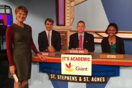 "On ""It's Academic,"" St. Stephen's and St. Agnes School competes against Washington-Lee High School and W.T. Woodson High School. The show airs Dec. 10, 2016. (Courtesy Facebook/It's Academic)"
