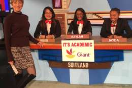 "On ""It's Academic,"" Suitland High School competed against Chantilly and West Springfield high schools. The show aired Jan. 21, 2017. (Courtesy Facebook/It's Academic)"