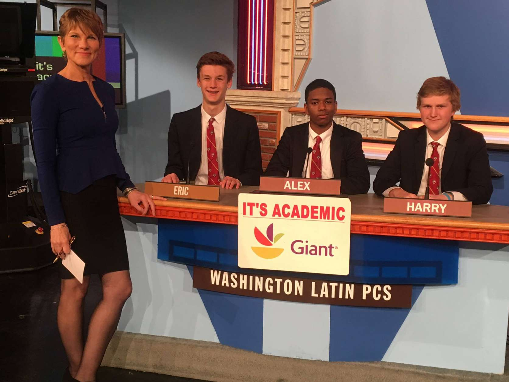 "On ""It's Academic,"" Washington Latin Charter competes againsts Annandale High School and Robinson Secondary School. The show airs Feb. 18, 2017. (Courtesy Facebook/It's Academic)"
