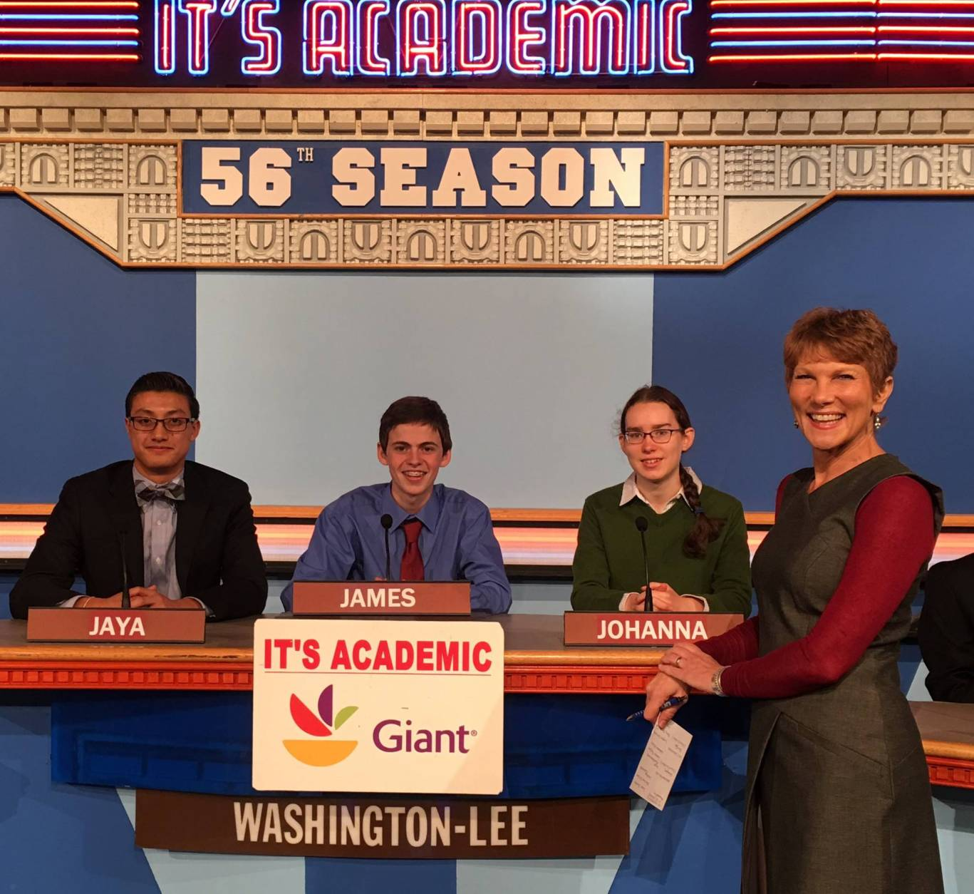 "On ""It's Academic,"" Washington-Lee High School competes against W.T. Woodson High School and St. Stephen's and St. Agnes School. The show airs Dec. 10, 2016. (Courtesy Facebook/It's Academic)"