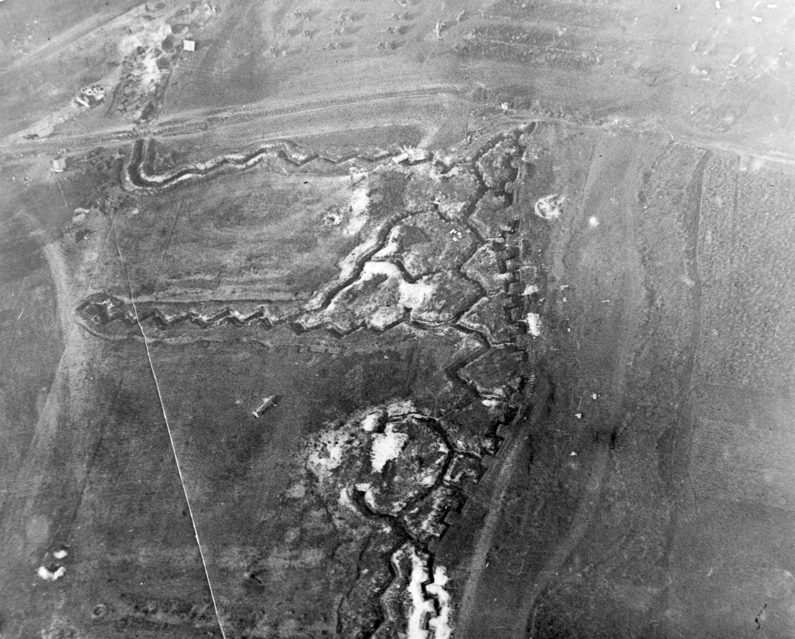 In this aerial photo, a portion of an old reserve trench is visible near the Somme River, on the western front, in France, during World War I. Exact location and date are unknown. (AP Photo)